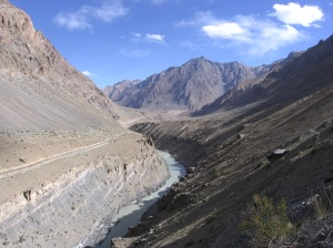 Road on one side of the Zanskar Valley, foot track on the other